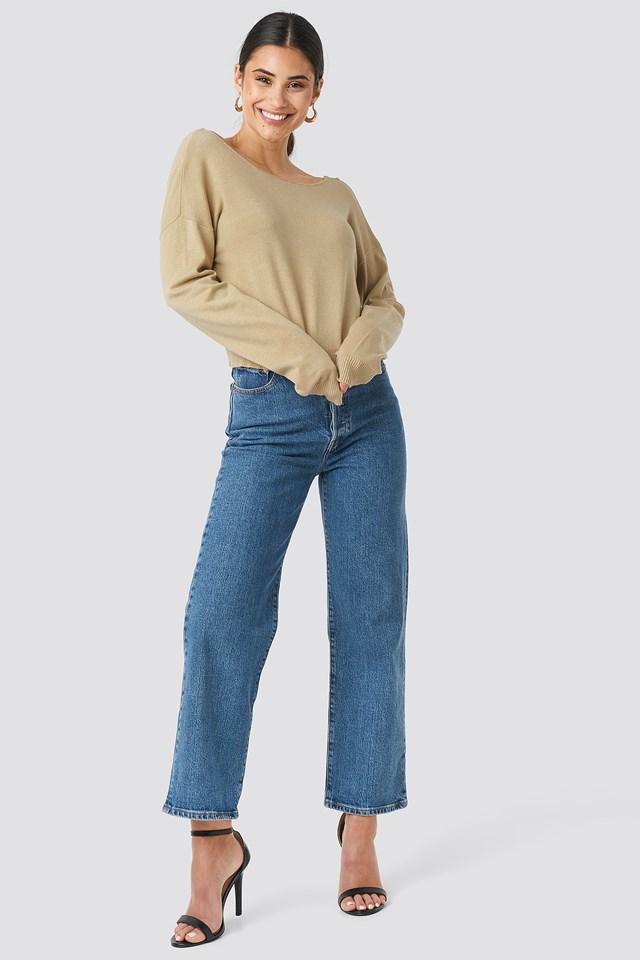 Back V-neck Cropped Sweater Beige