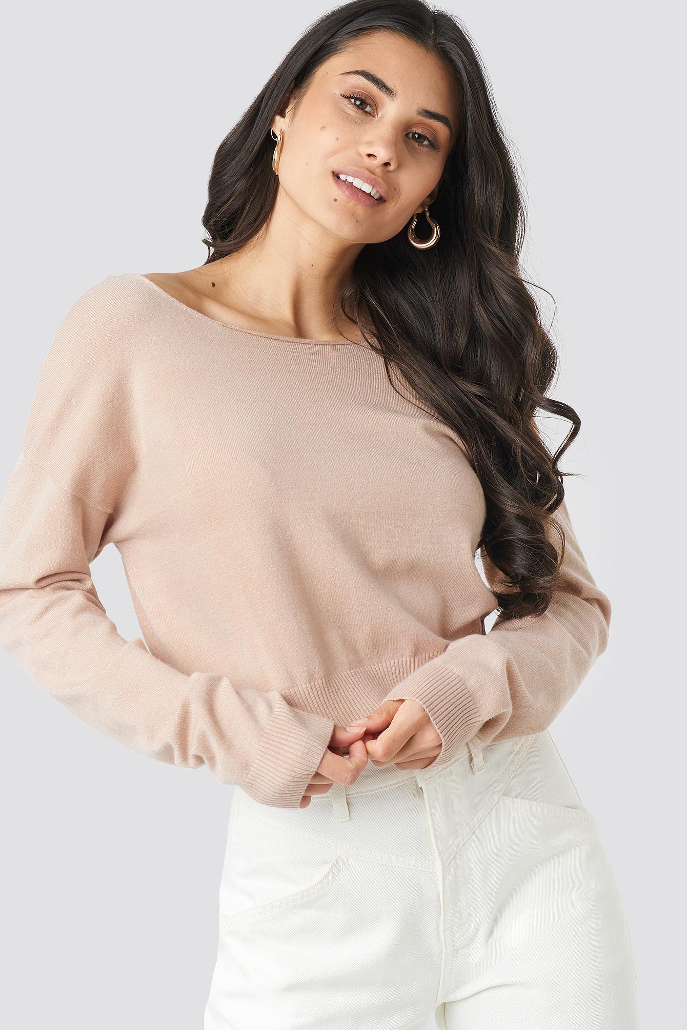 Back V-neck Cropped Sweater NA-KD.COM
