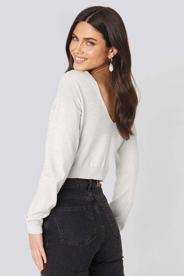 Back V-neck Cropped Sweater Light Grey