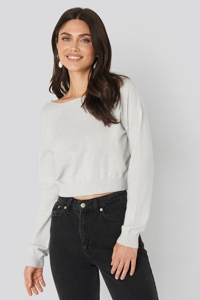 Back V-neck Cropped Sweater Light Grey