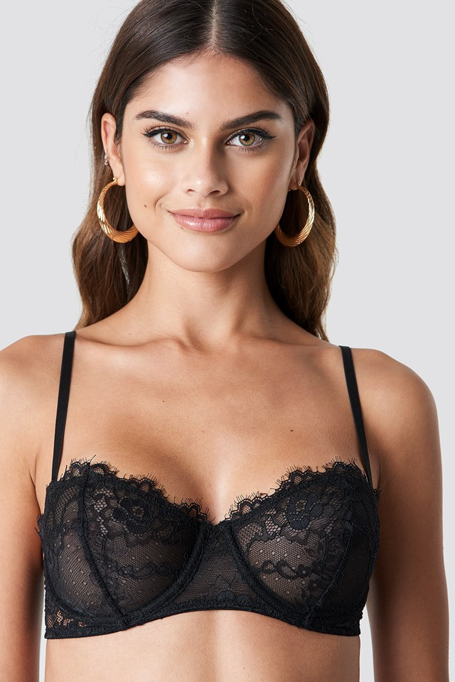 Balconette Eyelash Lace Bra Black