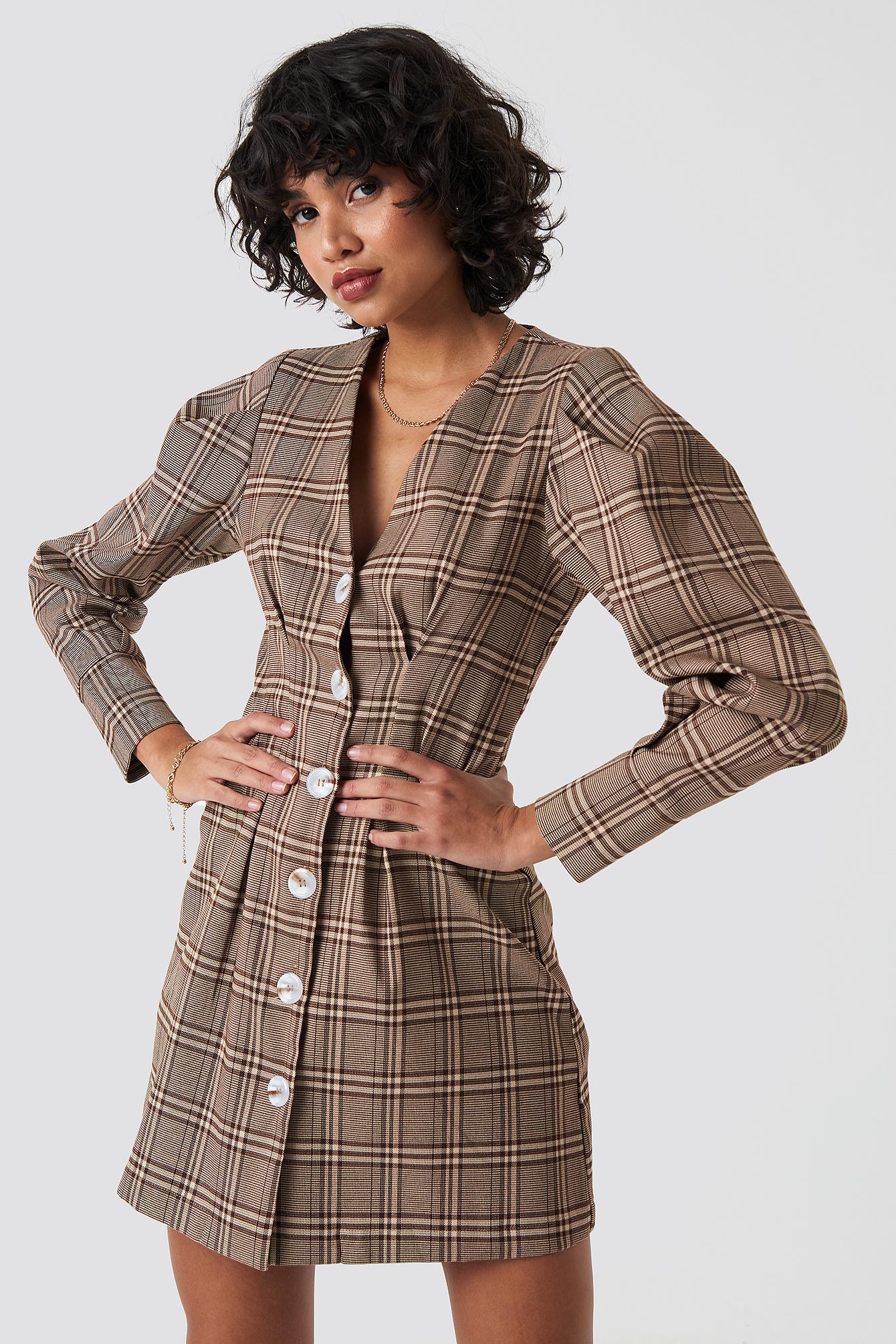 na-kd classic -  Balloon Sleeve Checkered Blazer Dress - Beige