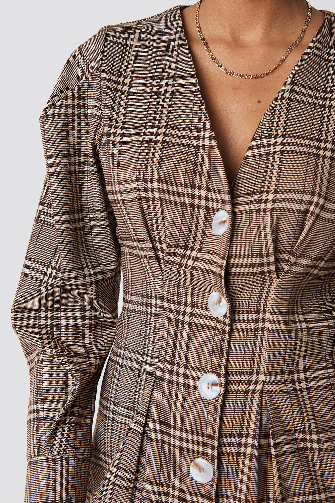 Balloon Sleeve Checkered Blazer Dress NA-KD.COM