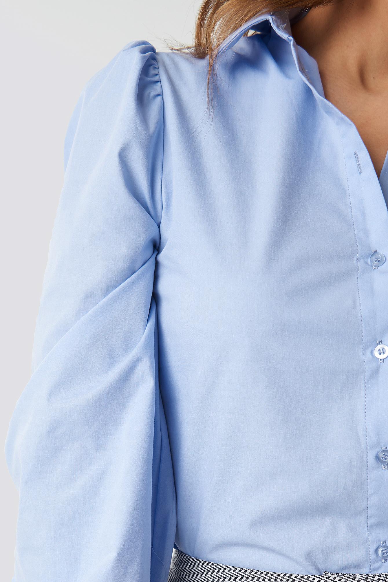 Balloon Sleeve Cotton-blend Shirt NA-KD.COM