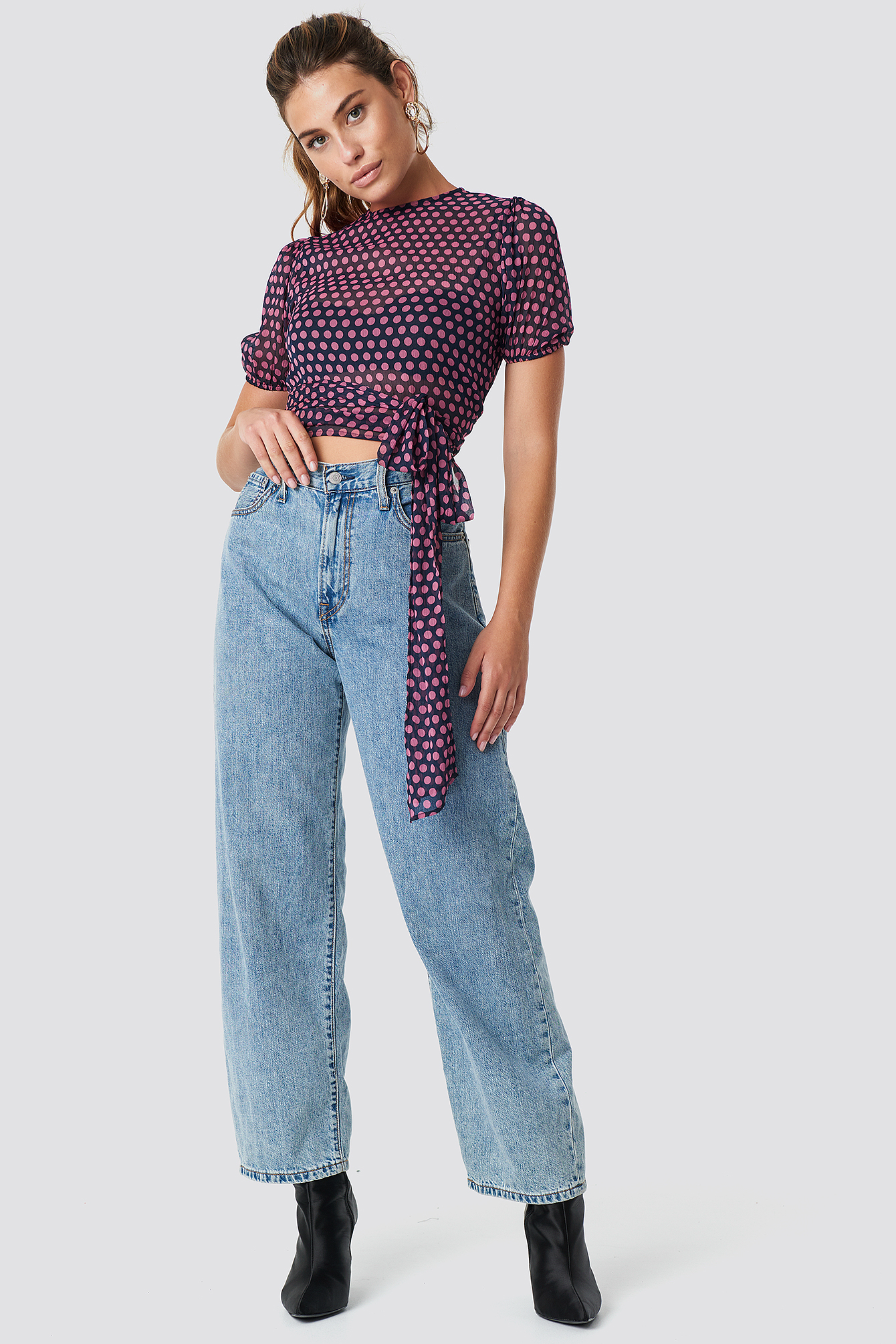 Balloon Sleeve Cropped Top NA-KD.COM