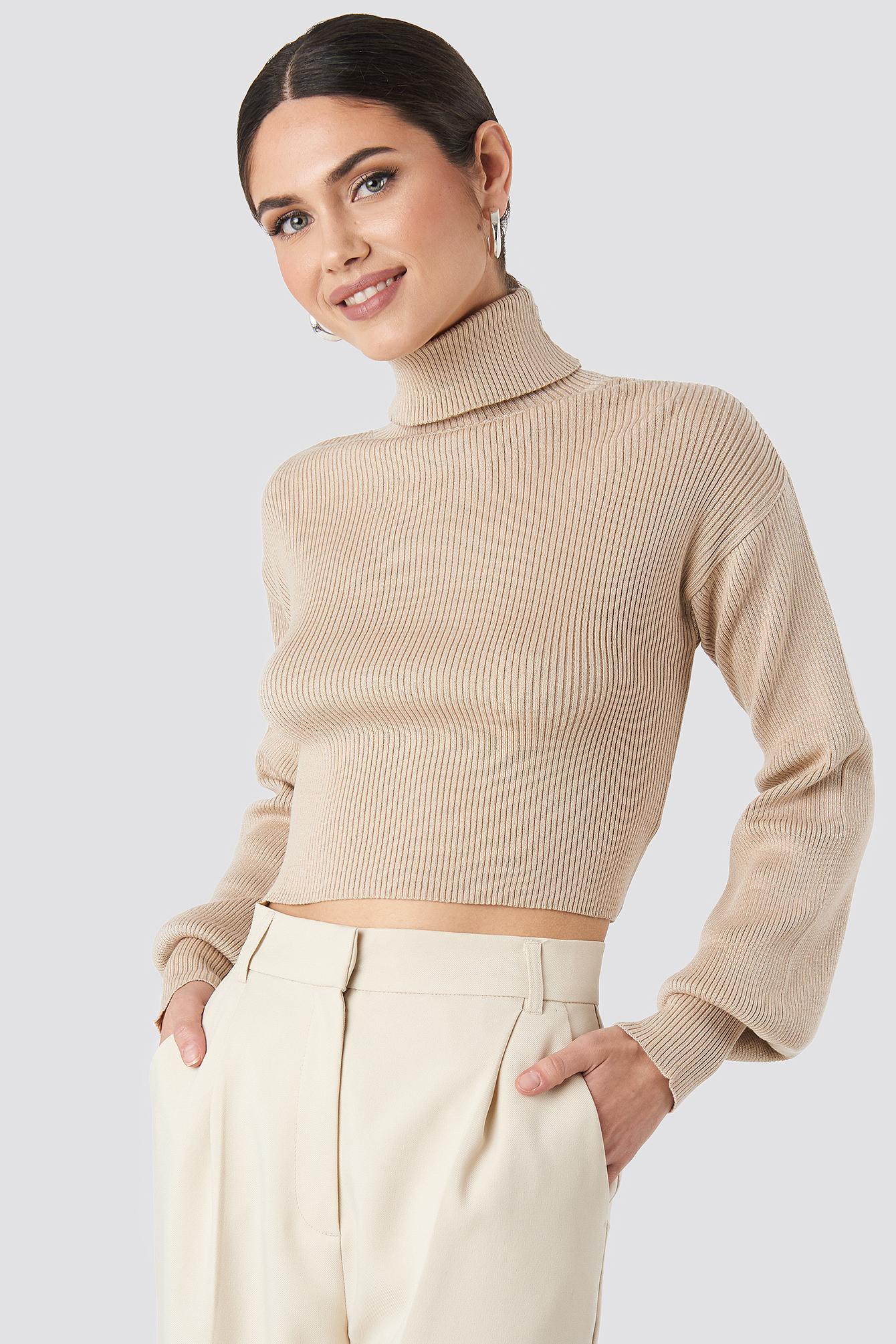 Knitted Deep V-neck Sweater Pink   na-kd.com