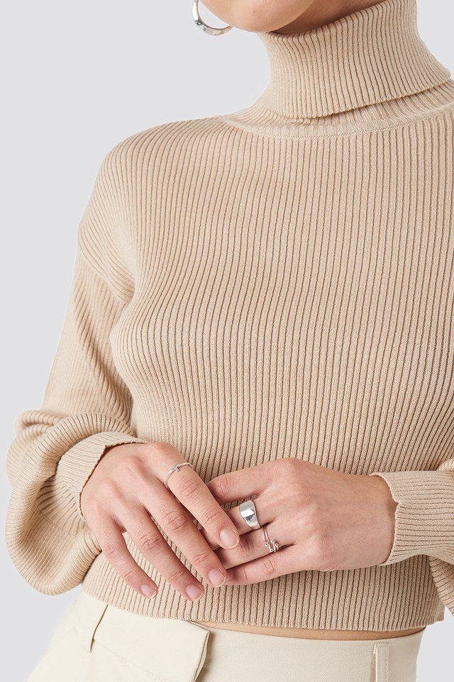 Balloon Sleeve High Neck Short Sweater Light Beige