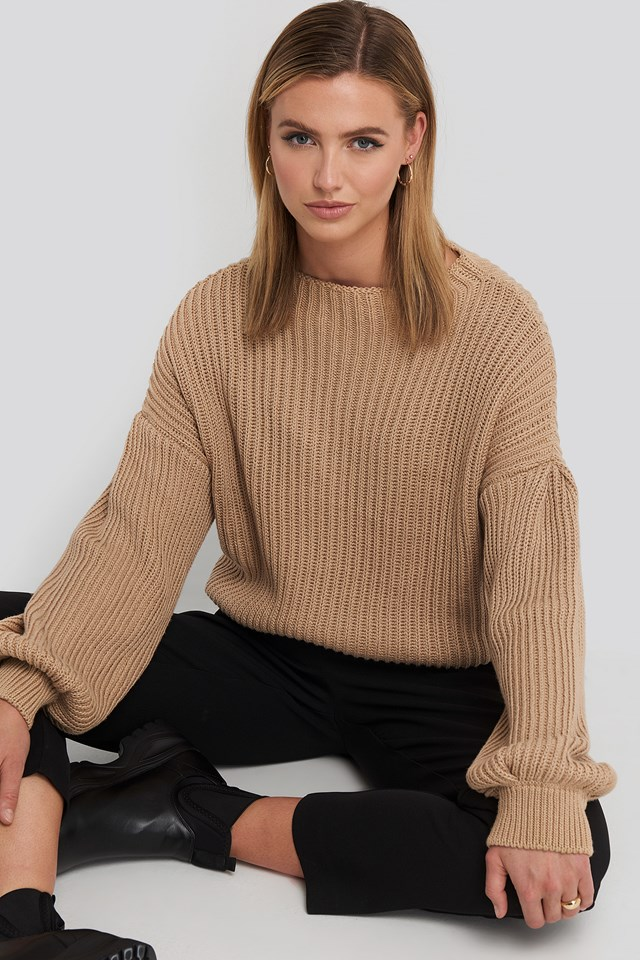 Balloon Sleeve Knitted Sweater Beige