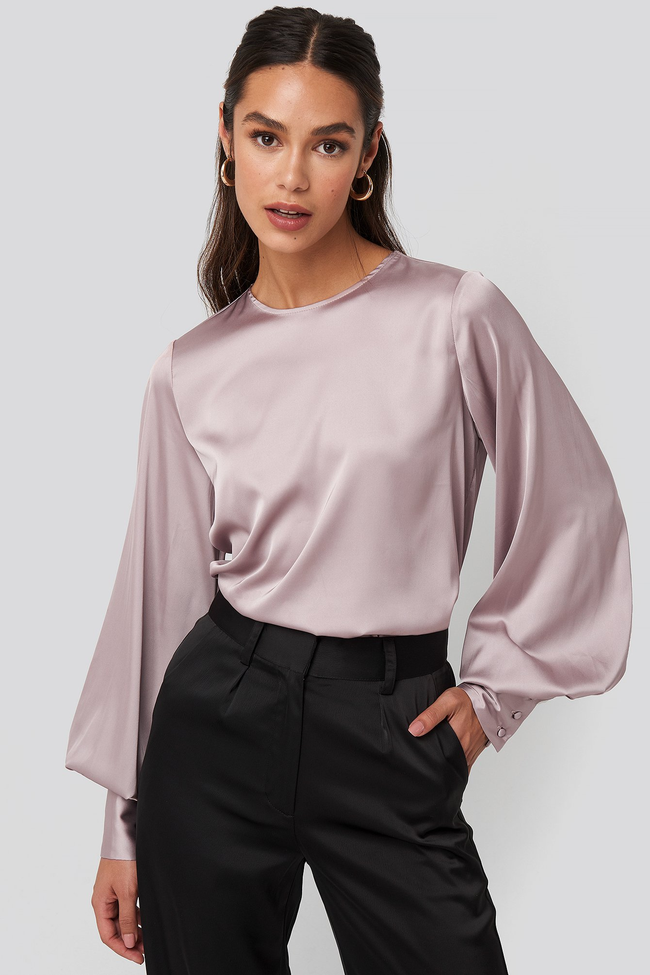 Balloon Sleeve Satin Blouse Rose by Na Kd Trend