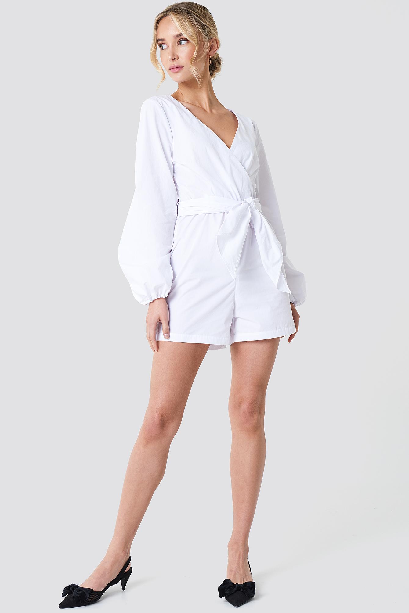 na-kd boho -  Balloon Sleeve Shirt Playsuit - White