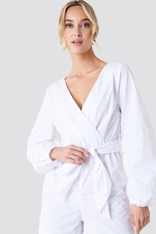 Balloon Sleeve Shirt Playsuit White