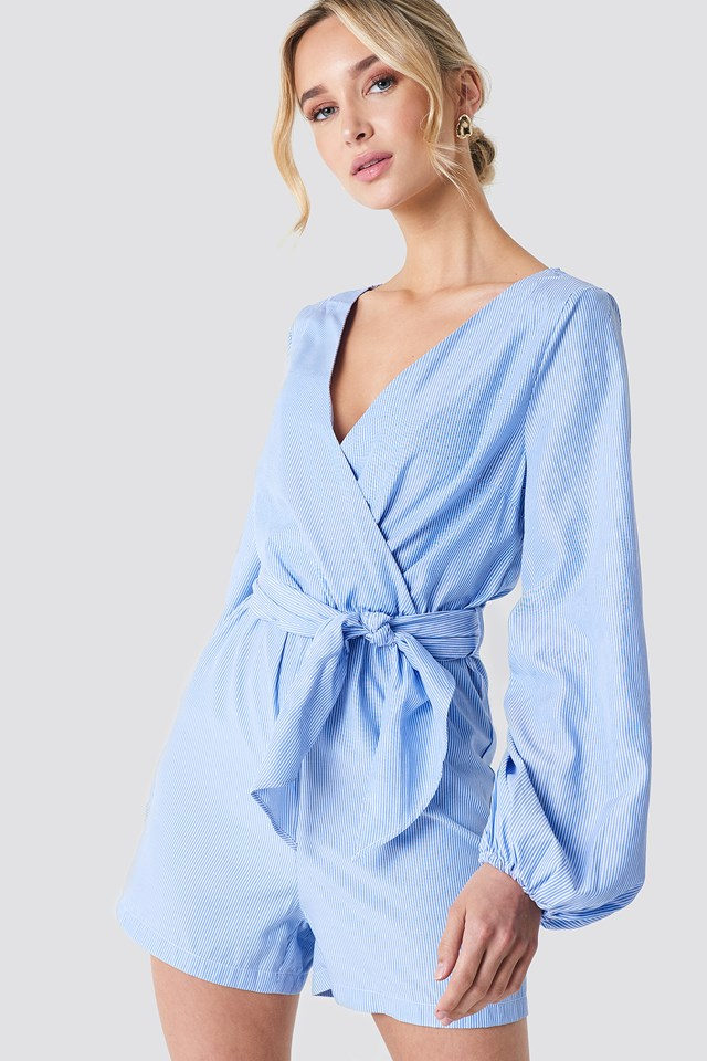 Balloon Sleeve Shirt Playsuit NA-KD Boho
