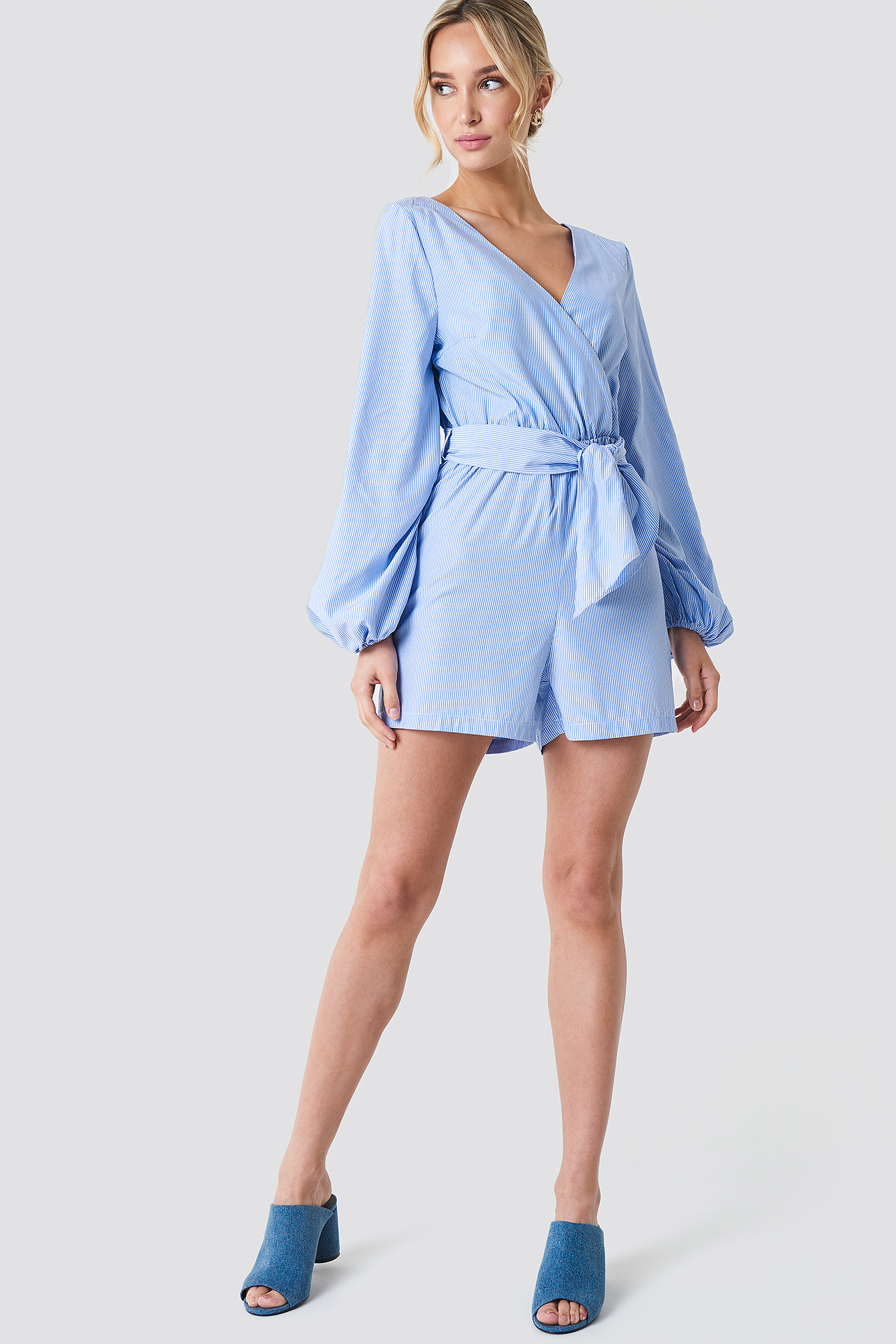 Balloon Sleeve Shirt Playsuit NA-KD.COM