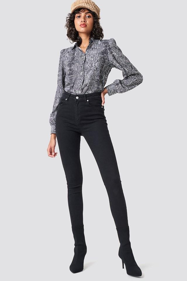 Balloon Sleeve Snake Shirt Grey/Black Snake