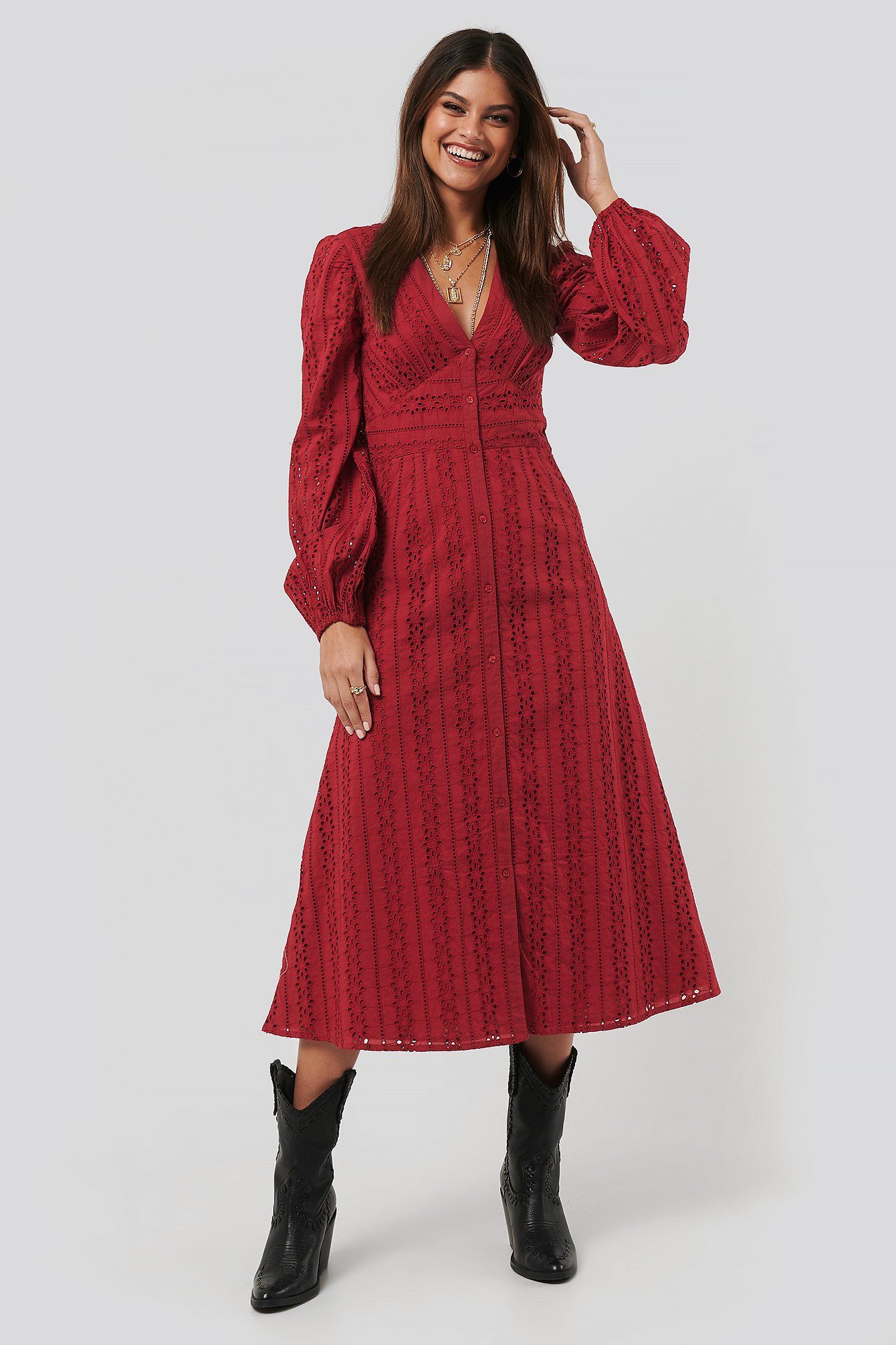 Dark Red Balloon Sleeve Anglaise Midi Dress