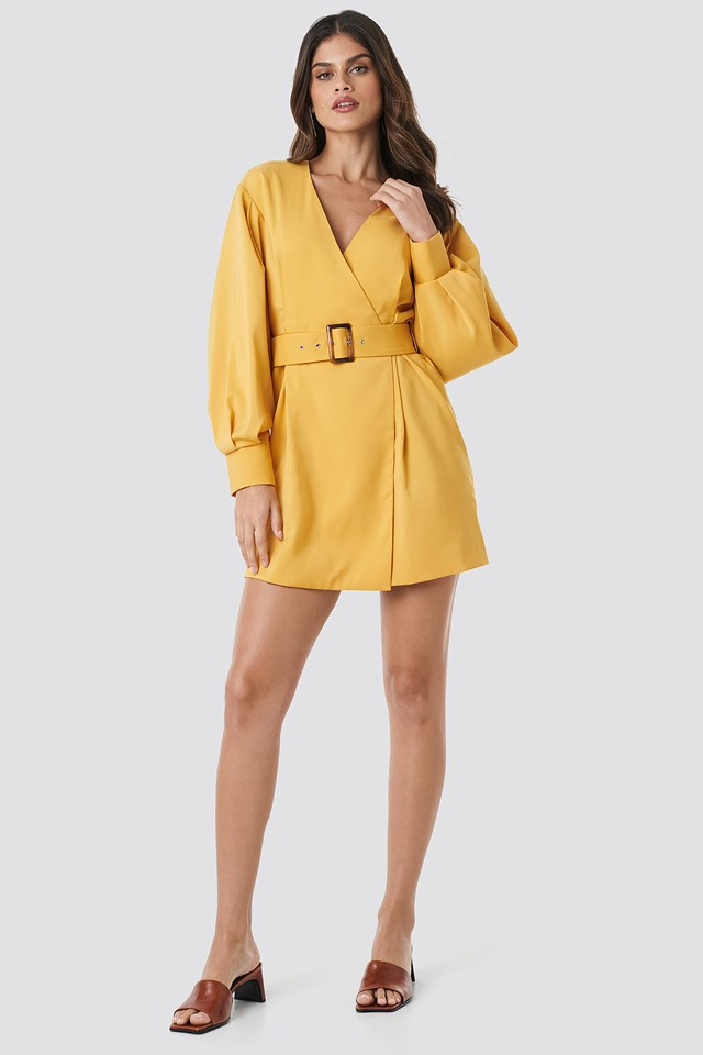 Balloon Sleeve Belted Blazer Dress Yellow