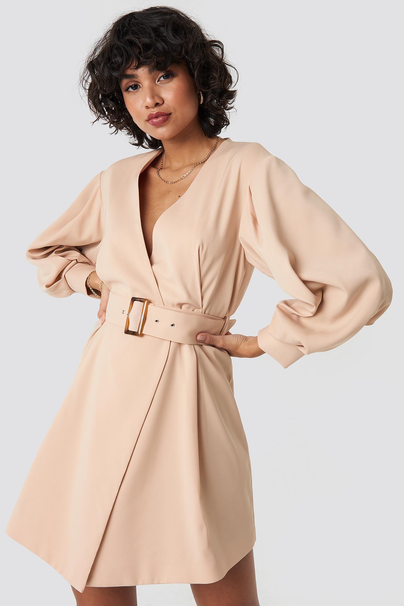 na-kd classic -  Balloon Sleeve Belted Blazer Dress - Beige