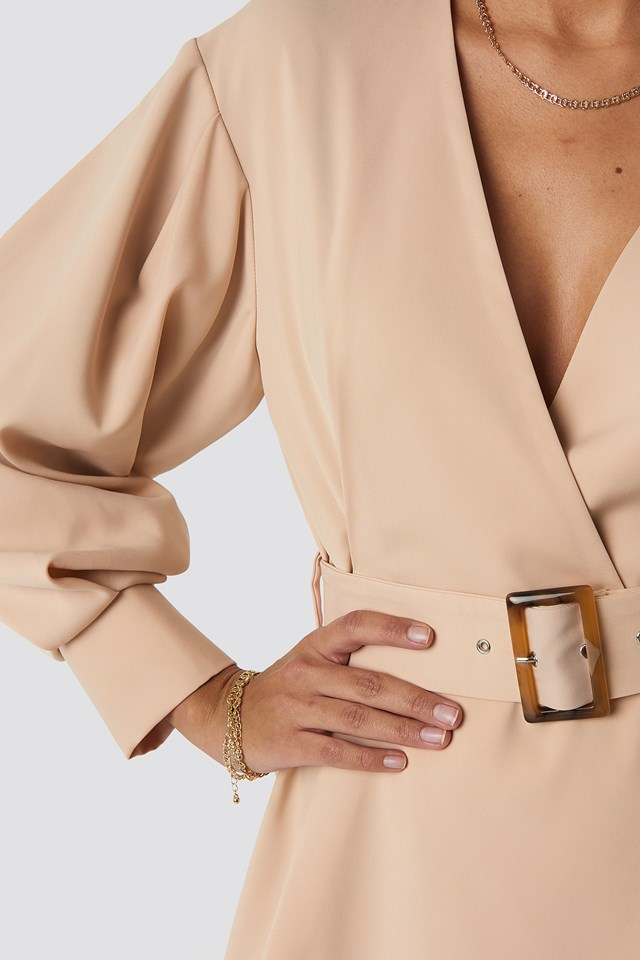 Balloon Sleeve Belted Blazer Dress Beige
