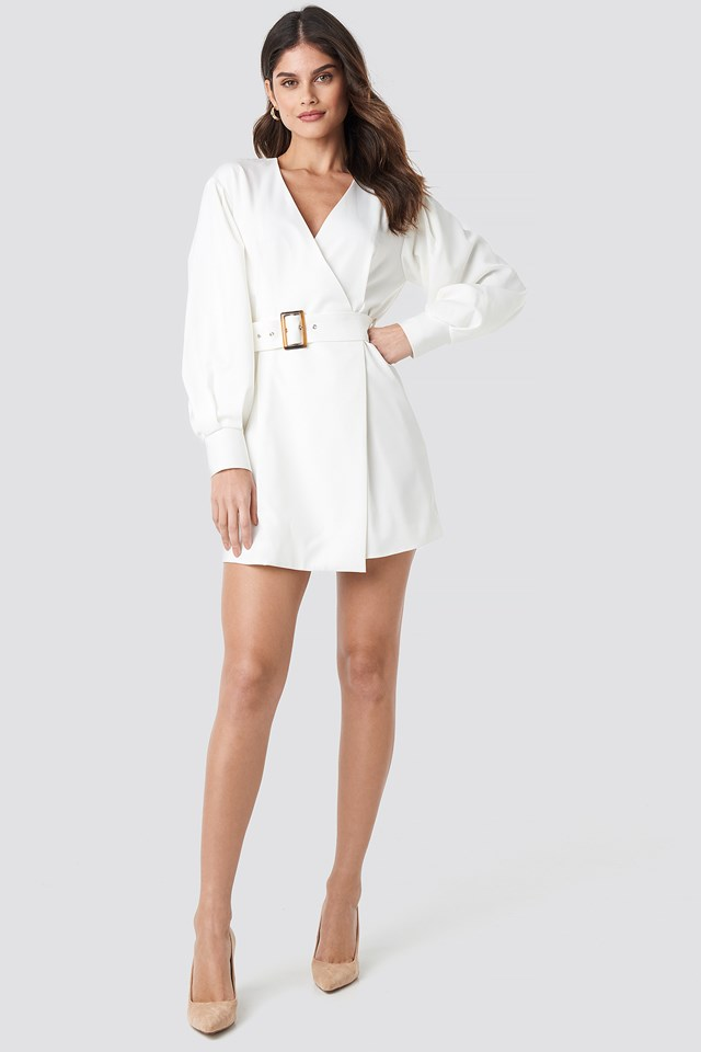 Balloon Sleeve Belted Blazer Dress White