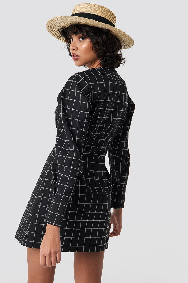 Balloon Sleeve Big Check Blazer Dress Black