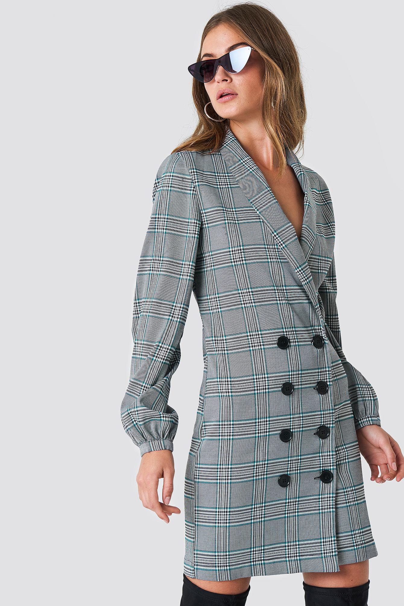 na-kd classic -  Balloon Sleeve Blazer Dress - Grey,Multicolor