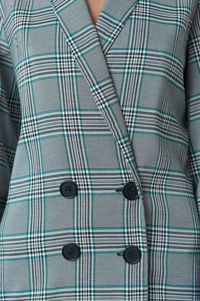 Balloon Sleeve Blazer Dress Checkered