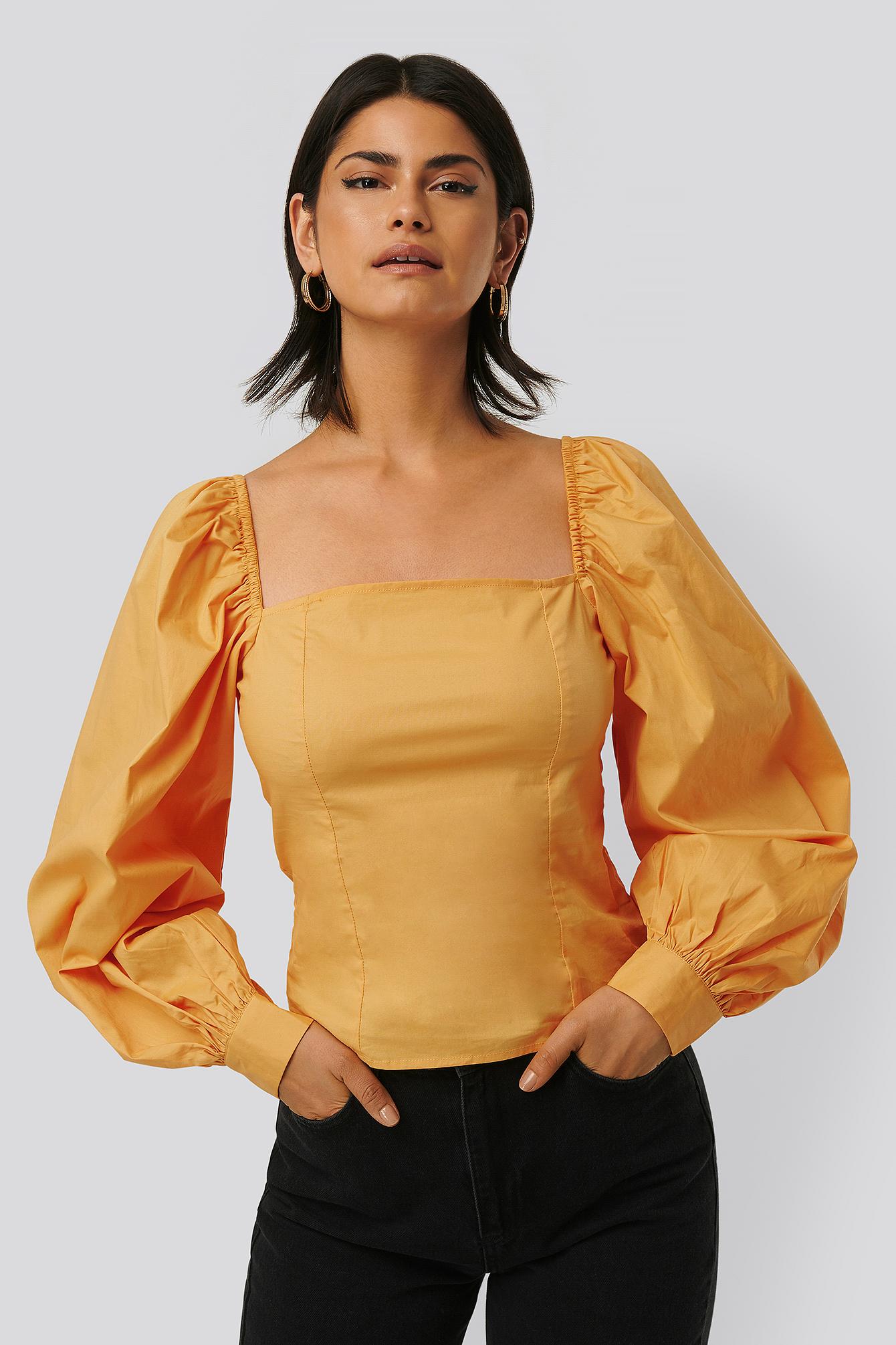 NA-KD Bluse Med Ballonærmer - Yellow