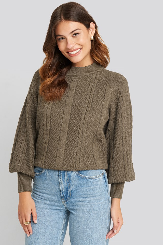 Balloon Sleeve Cable Knitted Sweater Brown