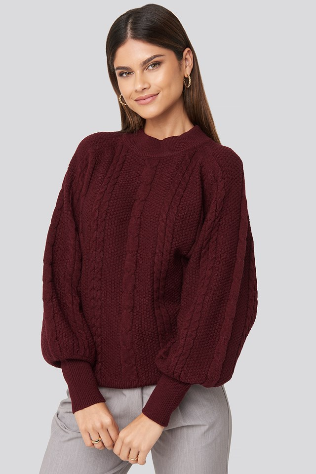 Balloon Sleeve Cable Knitted Sweater Burgundy