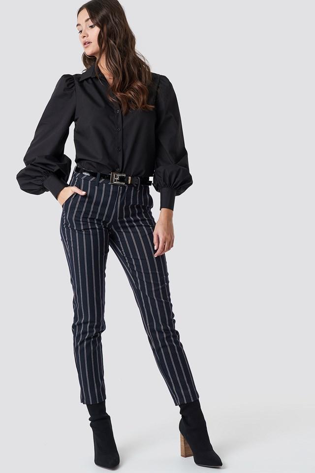 Balloon Sleeve Cotton-blend Shirt Black