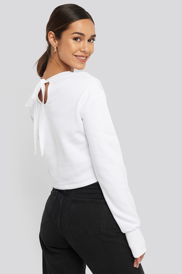 Balloon Sleeve Cropped Sweatshirt White