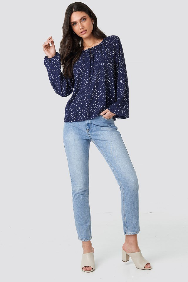 Balloon Sleeve Dotted Blouse Navy