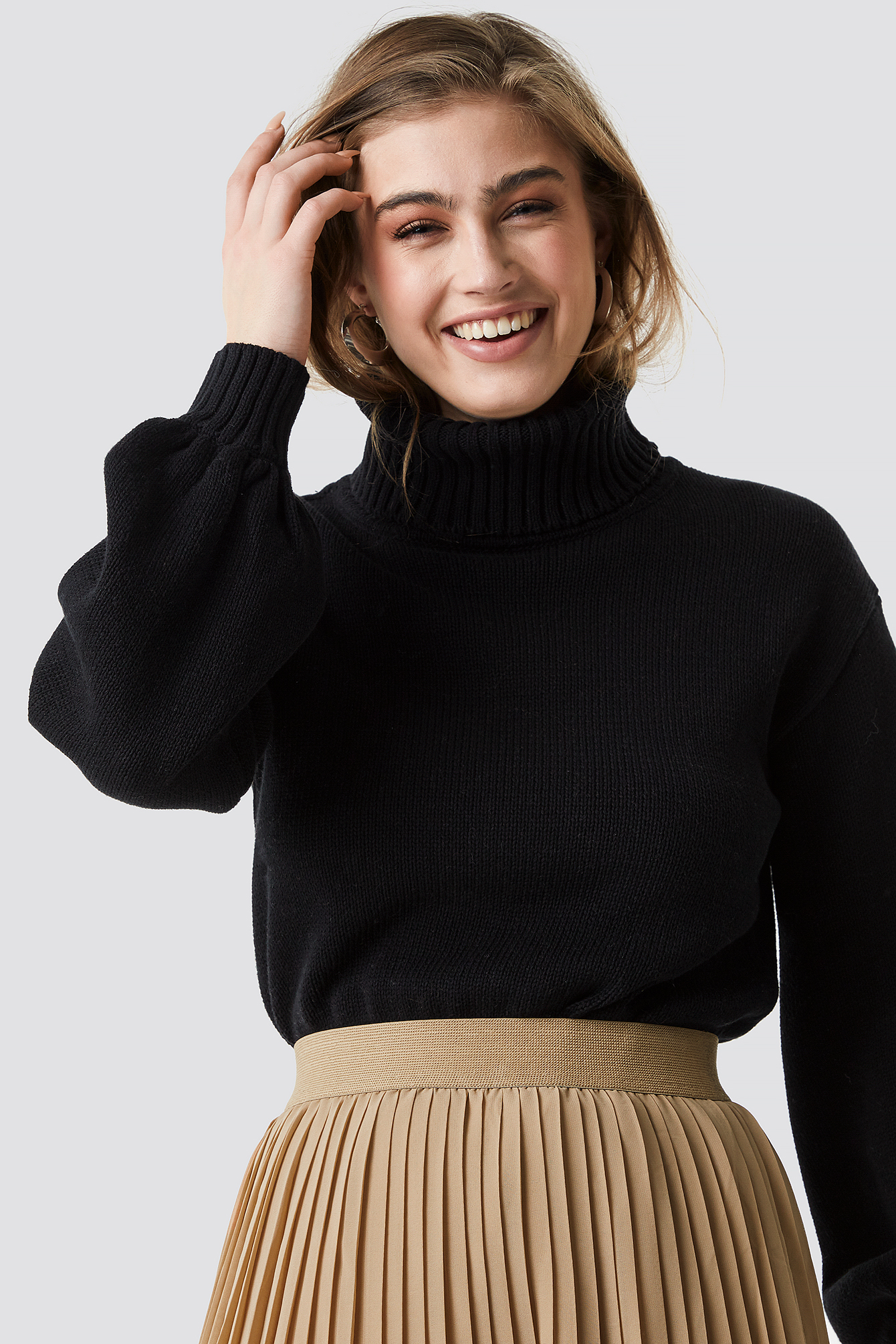 Balloon Sleeve High Neck Knitted Sweater NA-KD.COM