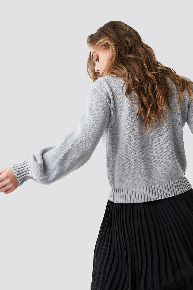 Balloon Sleeve High Neck Knitted Sweater Light Grey