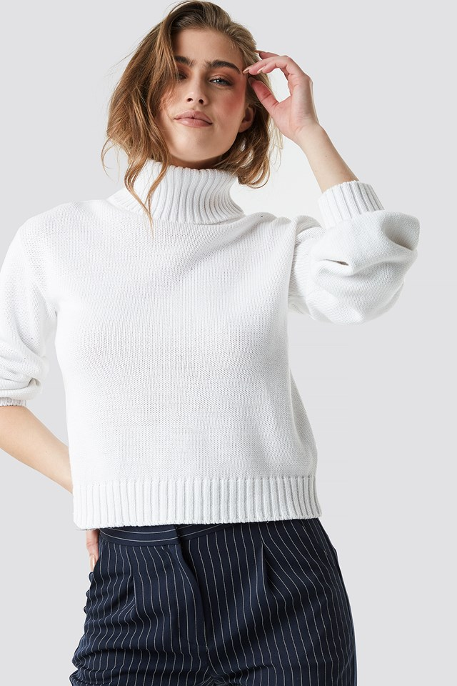 Balloon Sleeve High Neck Knitted Sweater NA-KD