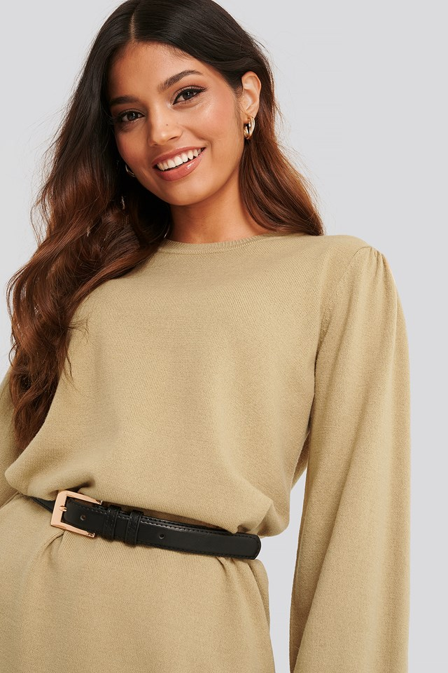 Balloon Sleeve Knitted Long Sweater Beige