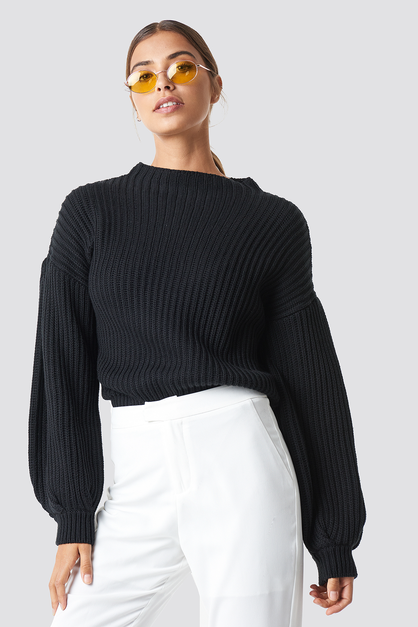 cebb39c66ef120 Balloon Sleeve Knitted Sweater Black | na-kd.com