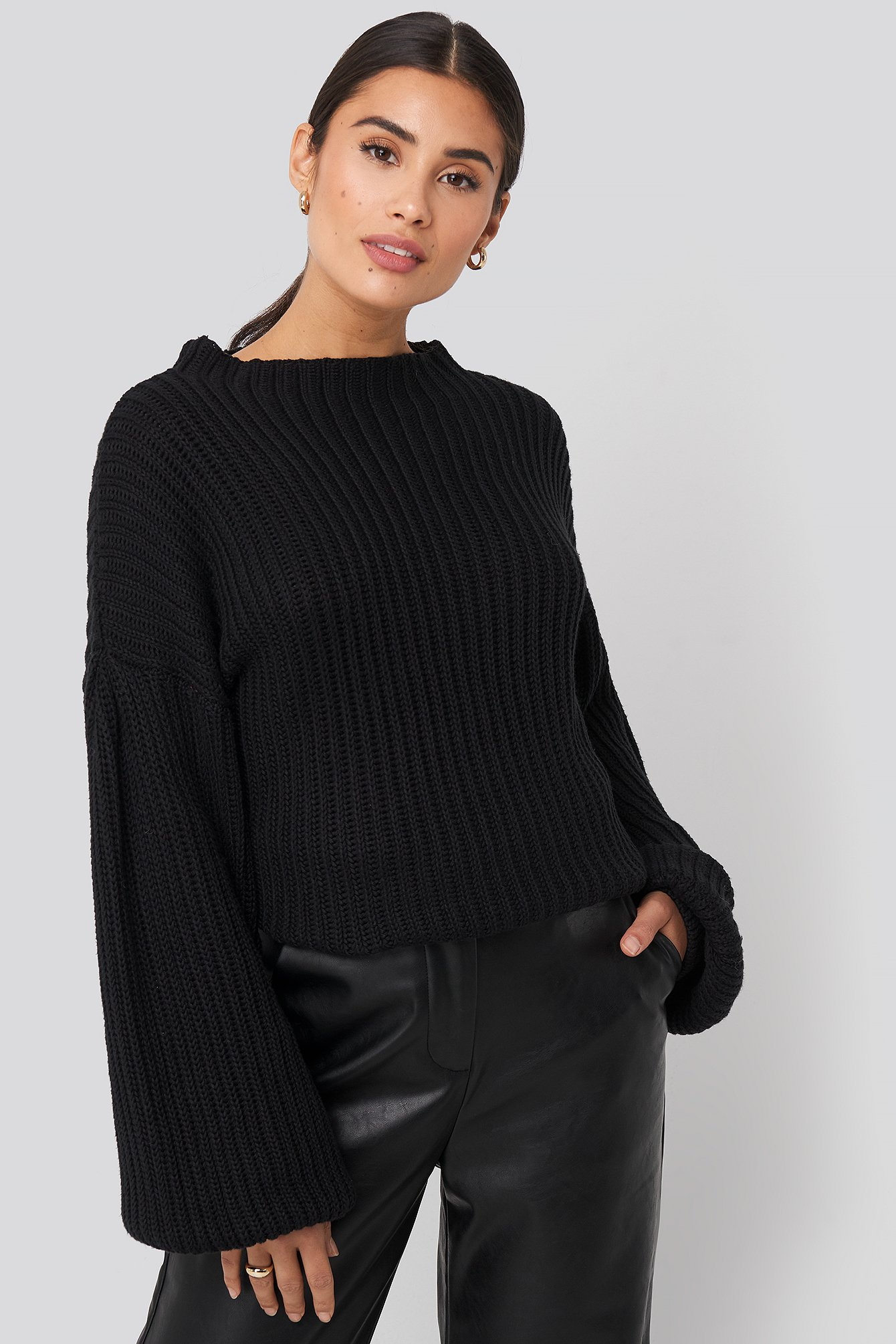 na-kd -  Balloon Sleeve Knitted Sweater - Black