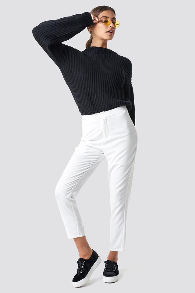 Sweter z dzianiny z bufiastym rękawem Black