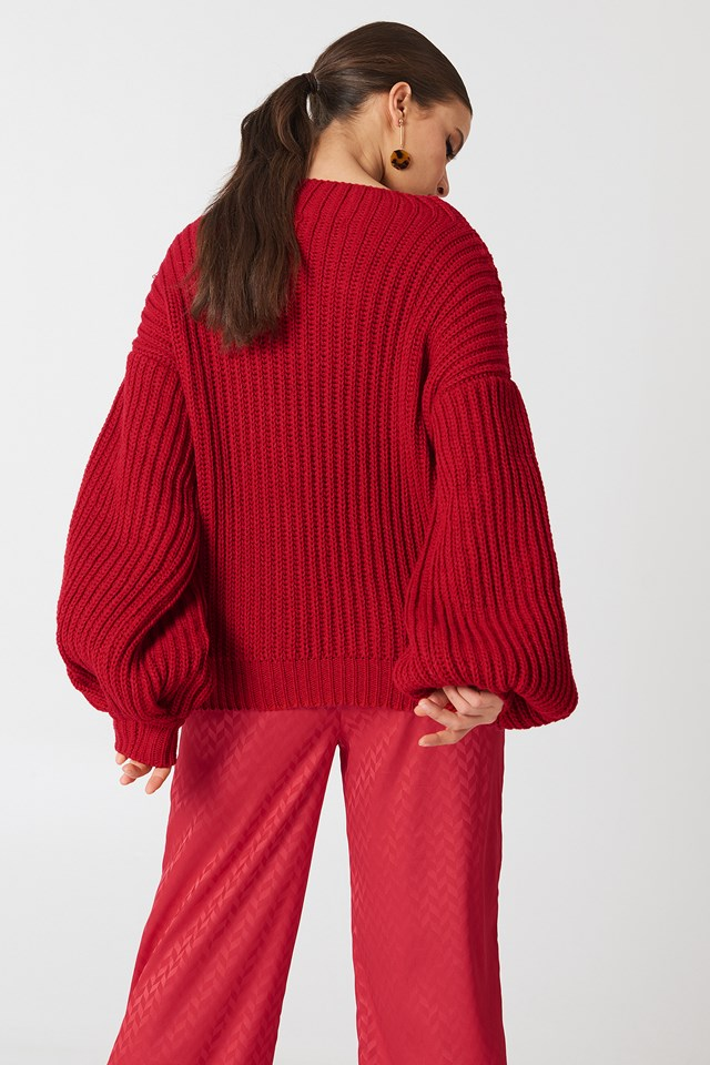 Balloon Sleeve Knitted Sweater Red