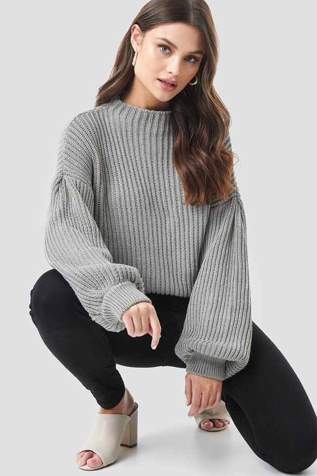 Balloon Sleeve Knitted Sweater Grey