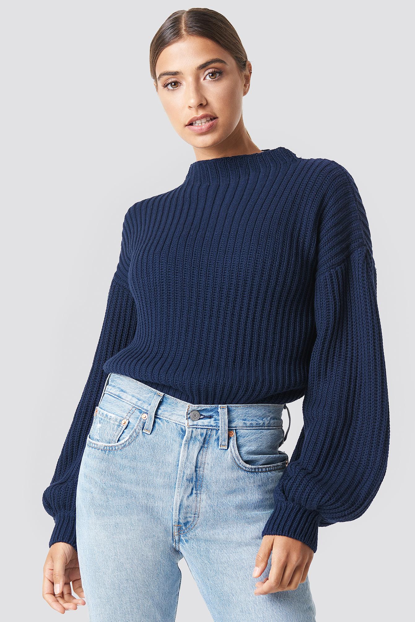 910fc8449fe1e2 Balloon Sleeve Knitted Sweater Blue | na-kd.com