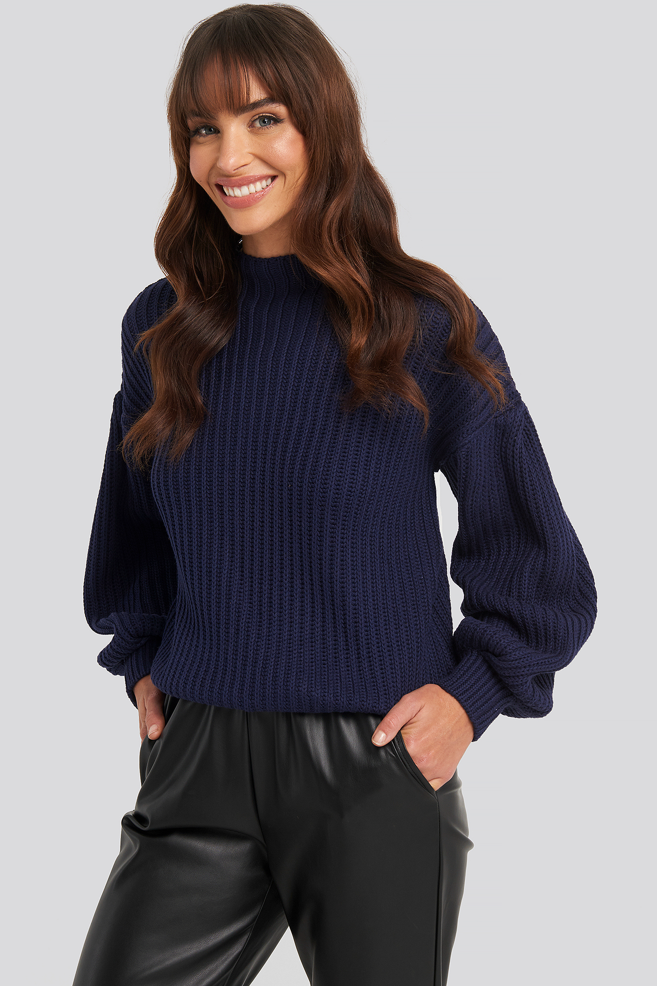 Balloon Sleeve Knitted Sweater Blue | na-kd.com