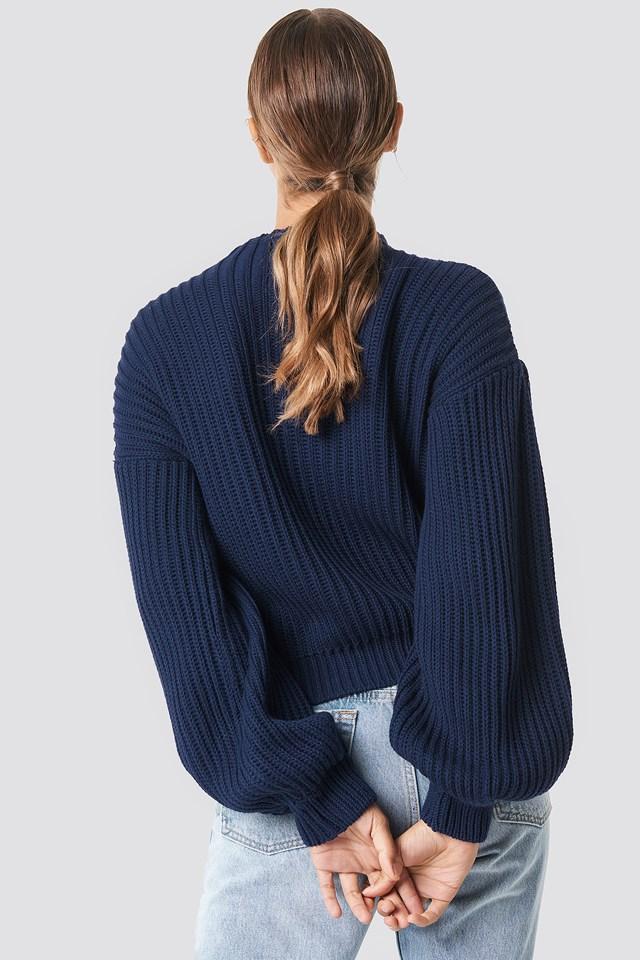 Balloon Sleeve Knitted Sweater Dark Navy