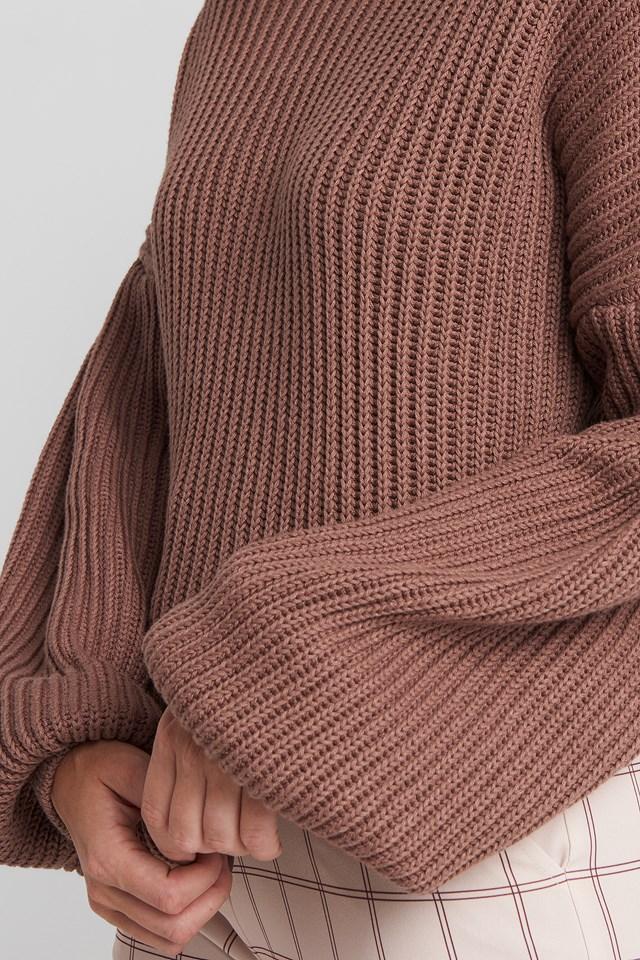 Balloon Sleeve Knitted Sweater Dusty Dark Pink