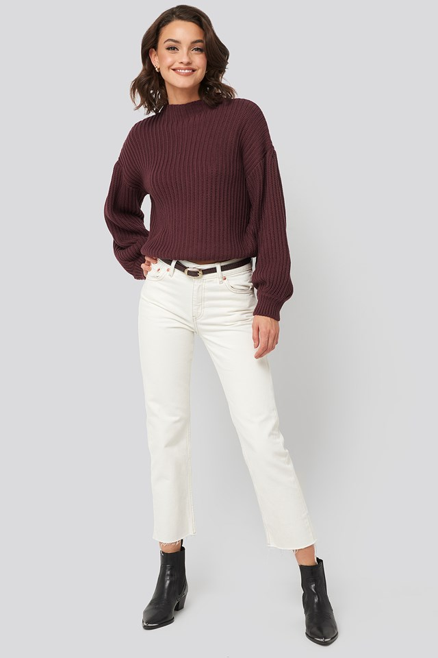 Balloon Sleeve Knitted Sweater Burgundy