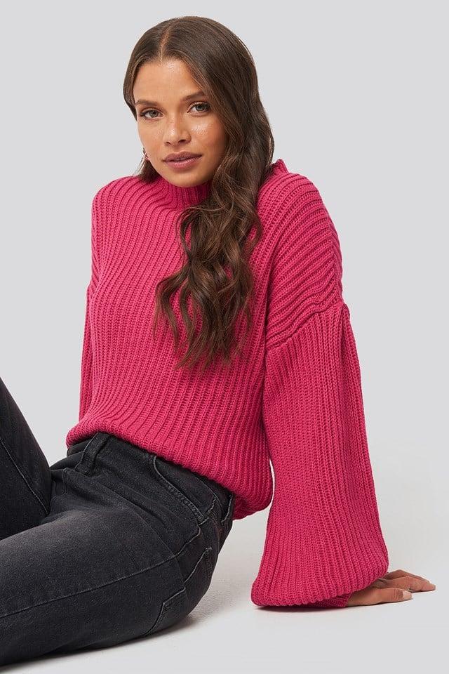 Sweter z dzianiny z bufiastym rękawem Fuchsia