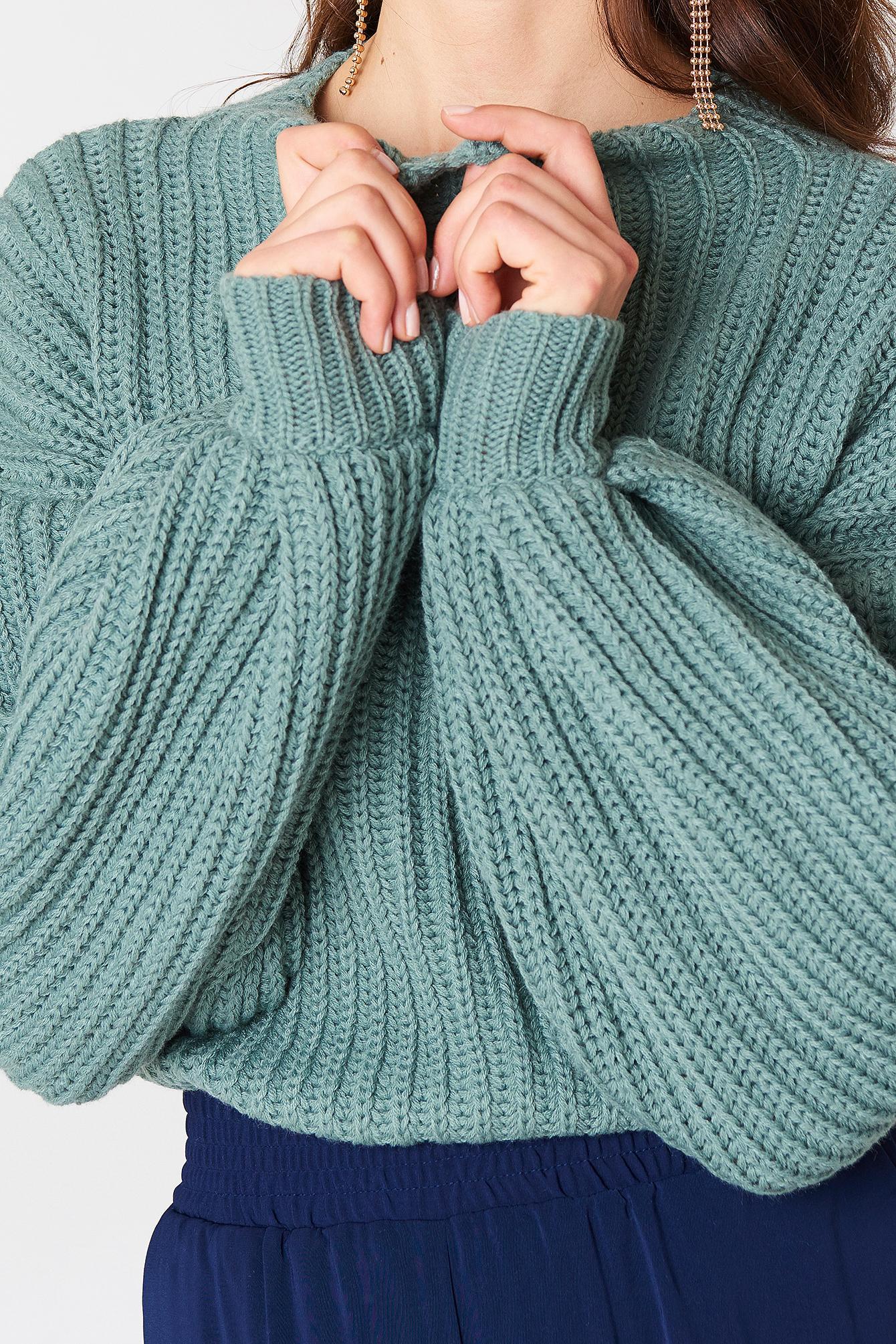 balloon sleeve knitted sweater duck green