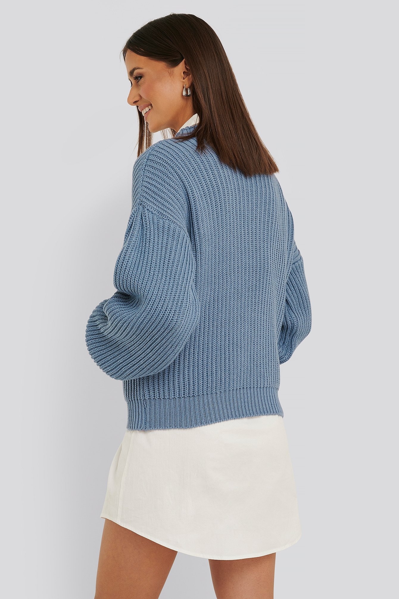 Stone Blue Balloon Sleeve Knitted Sweater TEST