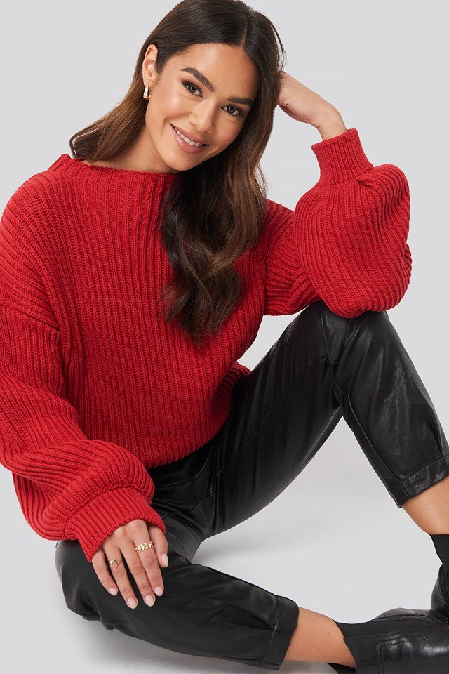 Balloon Sleeve Knitted Sweater Poppy Red
